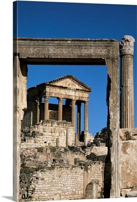 The Capitol, Roman ruins at Dougga, UNESCO World Heritage Site, Tunisia