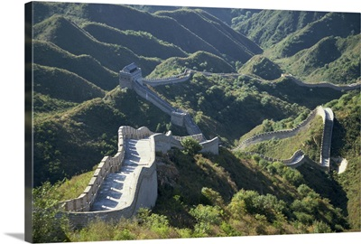 The Great Wall of China snaking through the hills, China, Asia