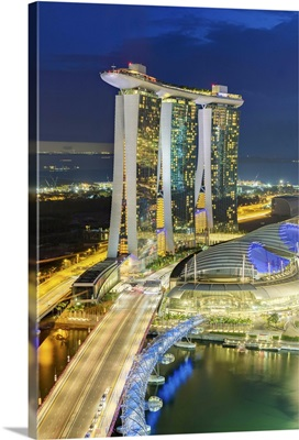 The Helix Bridge and Marina Bay Sands Singapore at night, Marina Bay, Singapore