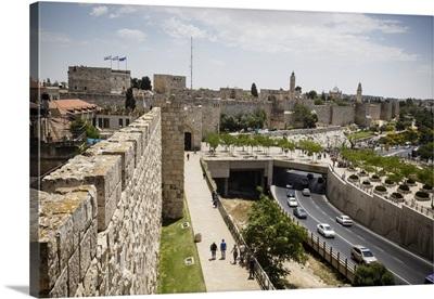 The Old City walls, Jerusalem, Israel, Middle East