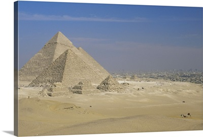 The Pyramids, Giza, with Cairo beyond, Egypt, North Africa