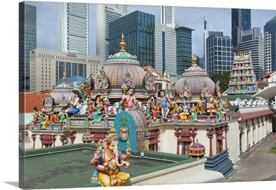 The roof of the Sri Mariamman Temple, a Dravidian style temple in Chinatown, Singapore