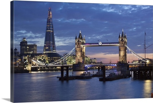The Shard And Tower Bridge On The River Thames At Night London England Wall Art Canvas Prints Framed Prints Wall Peels Great Big Canvas