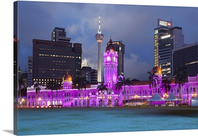 The Sultan Abdul Samad Building at night, Kuala Lumpur, Malaysia