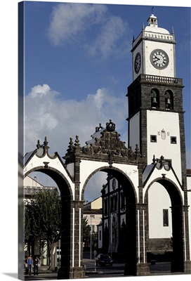 The Three Arches, symbolic old gates of the city, Sao Miguel Island, Azores, Portugal