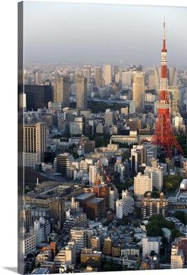 Tokyo and Tokyo Tower from atop the Mori Tower at Roppongi Hills, Tokyo, Japan