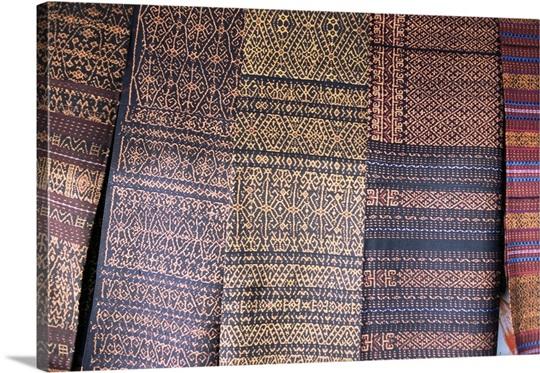 Traditional ikat weavings, Bena Village, Flores, Indonesia ...
