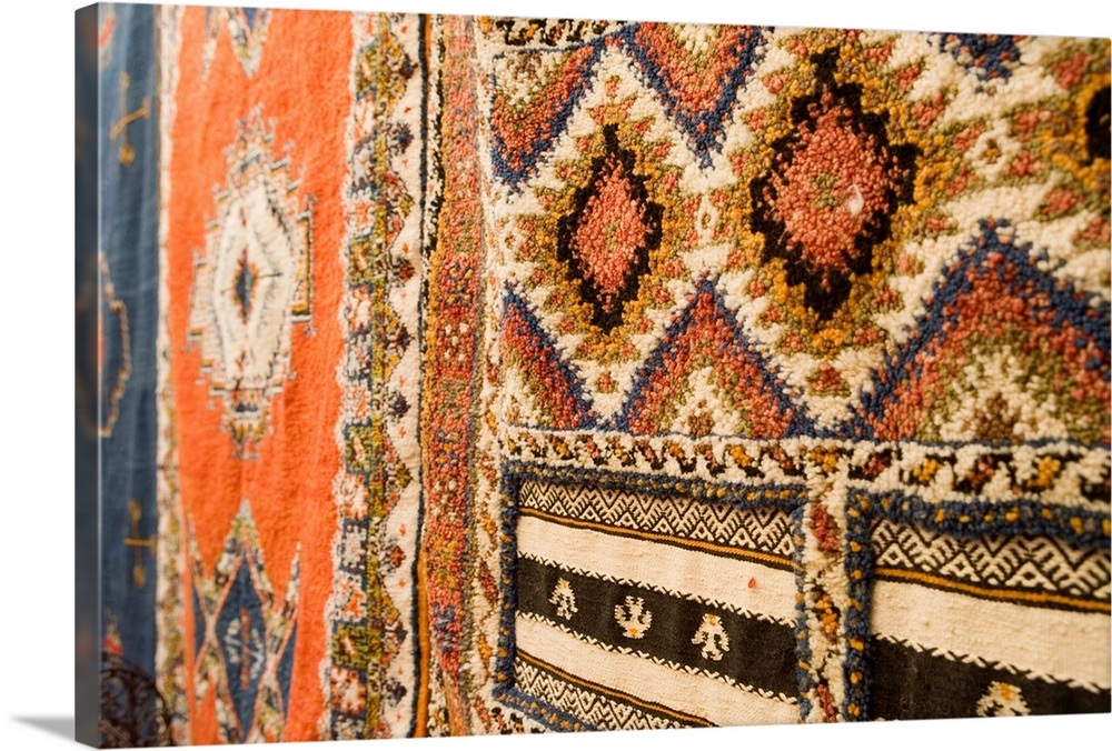 Traditional Moroccan rugs for sale in the souk, Fez, Morocco