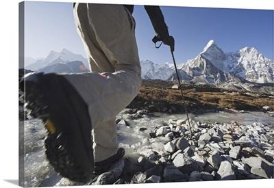 Trekker Crossing A Mountain Stream, Sagarmatha National Park, Himalayas, Nepal
