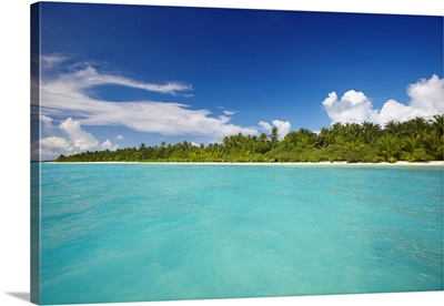 Tropical Island And Lagoon, The Maldives, Indian Ocean, Asia