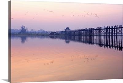 U Bein's Bridge across Thaungthaman Lake, Amarapura, Myanmar