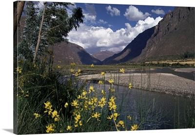 Urubamba Valley, the river continues down the gorge past Machu Picchu, Peru