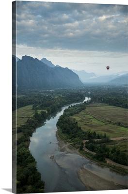 View from hot air balloon ride, Vang Vieng, Laos