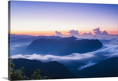 View of mountains from the summit of Adams Peak at sunrise, Sri Lanka