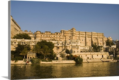 View of the City Palace and hotels from Lake Pichola, Udaipur, Rajasthan, India