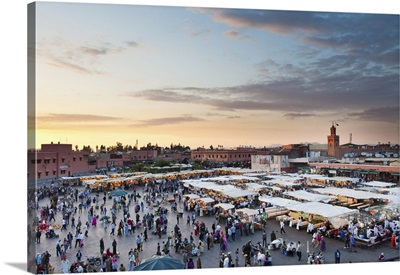 View Of The Djemaa El Fna At Sunset, Marrakech, Morocco