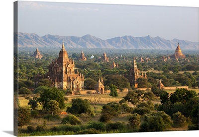 View over ancient temples from Shwesandaw temple, Bagan, Central Myanmar, Myanmar