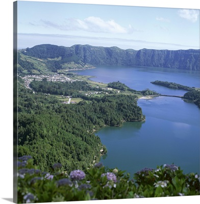 View over crater lake, Sete Citades, San Miguel, Azores islands, Portugal, Atlantic