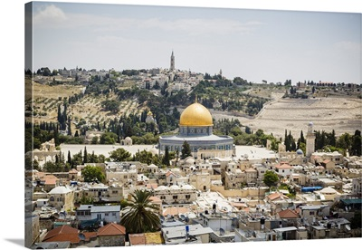 View over the Old City with the Dome of the Rock, Jerusalem, Israel, Middle East