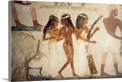 Wall paintings of female musicians in the tomb of Nakht, Thebes, Egypt, Africa