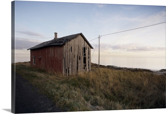 weathered barn on coast lofoten islands norway scandinavia