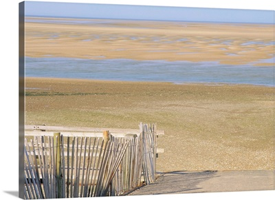West Sands at low tide from footpath, Wells-next-the-Sea, Norfolk, England