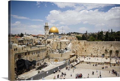 Western Wall and the Dome of the Rock mosque, Jerusalem, Israel, Middle East