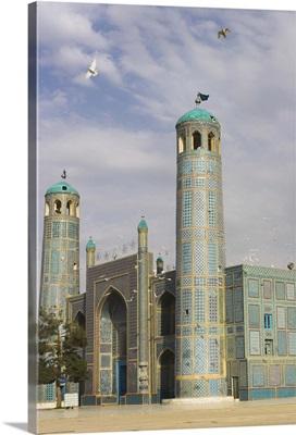 White pigeons fly around the shrine of Hazrat Ali, Mazar-I-Sharif, Afghanistan