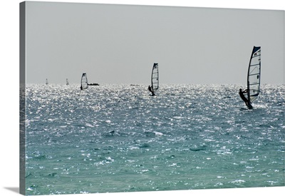 Wind surfing at Santa Maria on the island of Sal, Cape Verde Islands, Africa