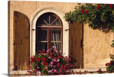 Window with shutters and window box, Italy