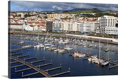 Yacht Marina in Ponta Delgada Port, Sao Miguel Island, Azores, Portugal, Atlantic