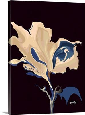 Blue Taupe Liquid Floral