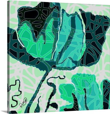 Large Teal And Green Abstract Flower