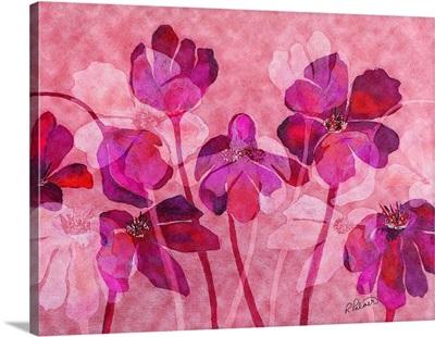 Magenta Pink Floral Overlay