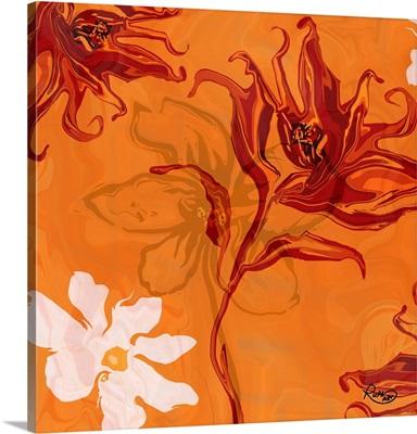 Orange Floral Two