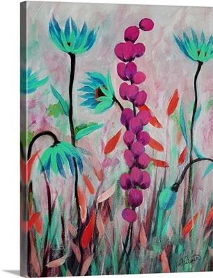 Pink Teal Flowers