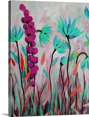 Pink Teal Flowers II