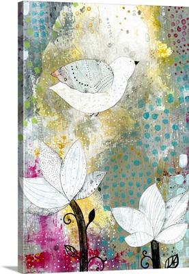 Bird with lotus flowers