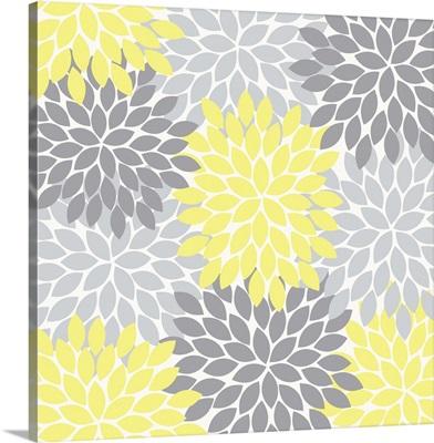 Flower Burst Yellow Dark And Light Gray