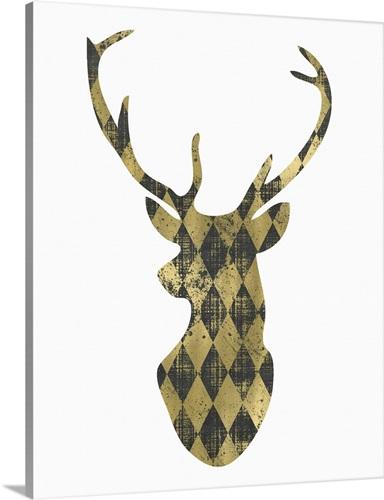 Gold Chalkboard Deer Head on White Wall Art, Canvas Prints, Framed ...