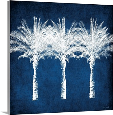 Indigo and White Palm Trees