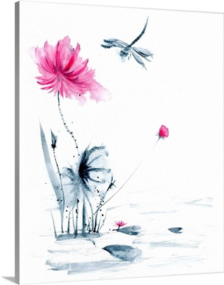 Pink Flower and a Lily Pad II