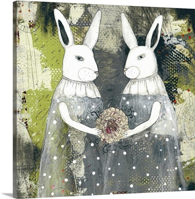 Rabbits and a flowers