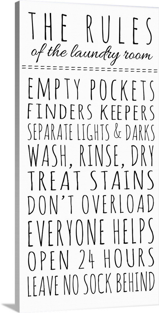 Rules Of The Laundry Room Wall Art