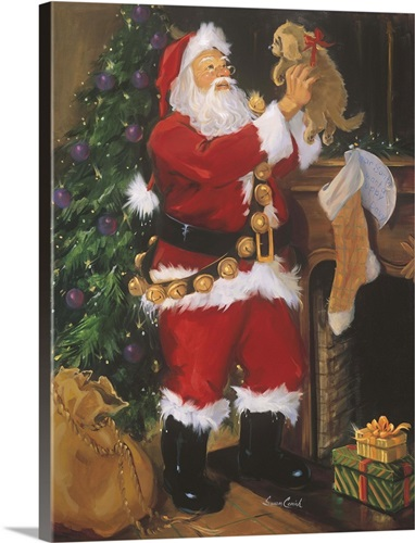 Santa With Puppy Wall Art, Canvas Prints, Framed Prints, Wall Peels ...