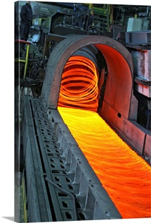 Bar-rolling mill processing molten metal