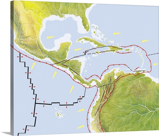 Central America Tectonic Plates Diagram Wall Art Canvas Prints