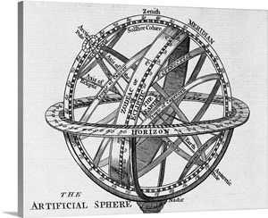 Drawing of an armillary sphere Wall Art, Canvas Prints