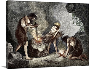Early Humans Making Fire Wall Art Canvas Prints Framed