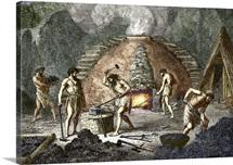 Early humans smelting iron